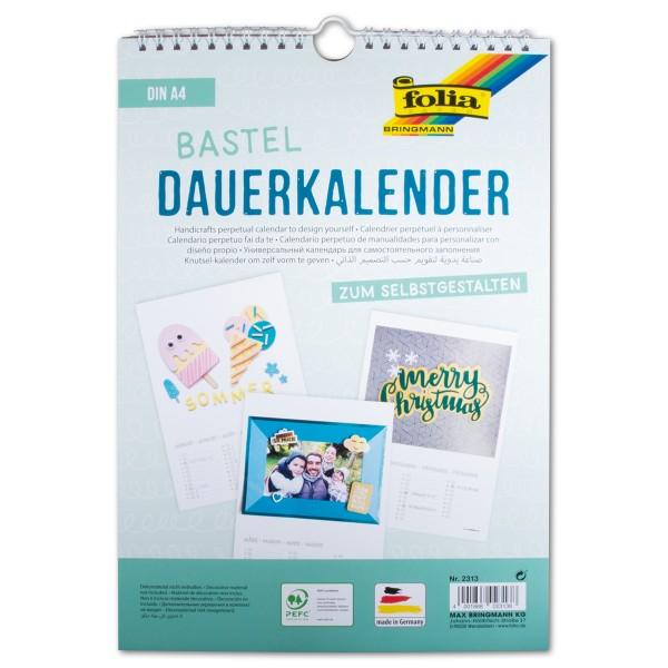 Dauerkalender Papier DIN A4 13 Bl. weiß/schwarz 130g/m²