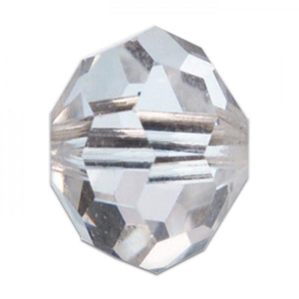 Facettenschliffperlen 6mm 30 St. cristall transparent, feuerpoliert, Glas, Lochgr. ca. 1mm