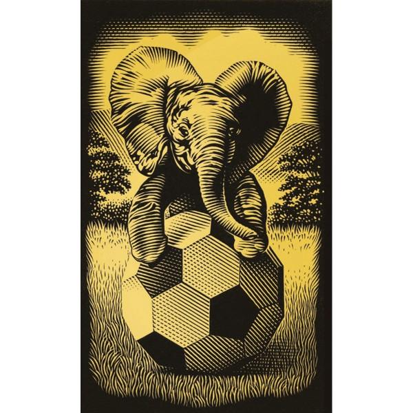 Kratzbild gold 18x11cm Elefant