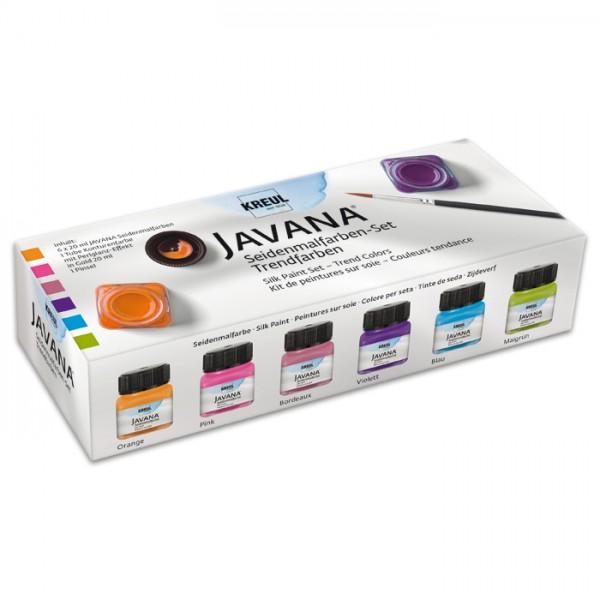 JAVANA Seidenmal-Set Trendfarben 6 Farben à 20ml Pinsel, Gutta, orange/pink/rot/violett/blau/grün