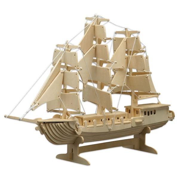 Holzbausatz Segelschiff 42x30cm 80 Teile vorgestanzt, zum Zusammenstecken