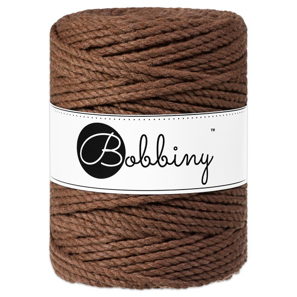 Bobbiny 3PLY Makramee-Kordel Ø5mm mocha ca. 700g-800g, 100% Baumwolle, LL 100m, 3x60 Fasern