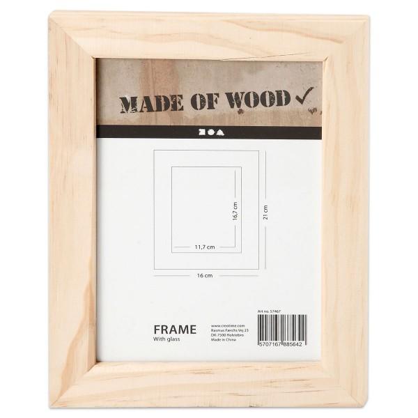 Bilderrahmen Holz mit Glasfront 21x16cm natur Ausschnitt 167x117mm, mit 2 Metallhaken