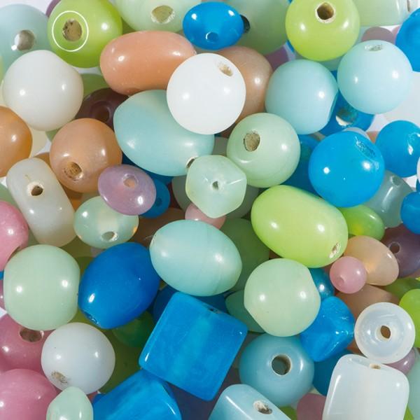 Glasperlen-Mix pastell ca. 5-10mm ca. 220g bunt Lochgr. ca. 1mm