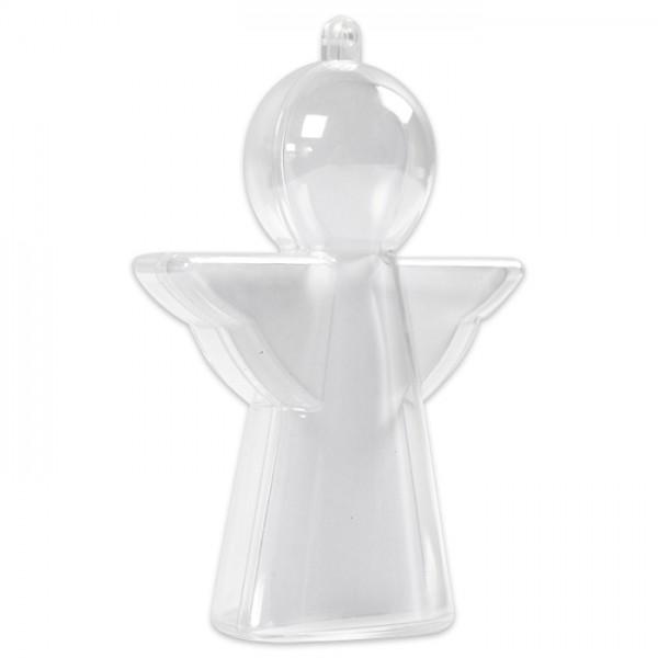 Kunststoff-Engel glasklar 10cm 4 St. je 2 Halbschalen, inkl. Pappeinlage