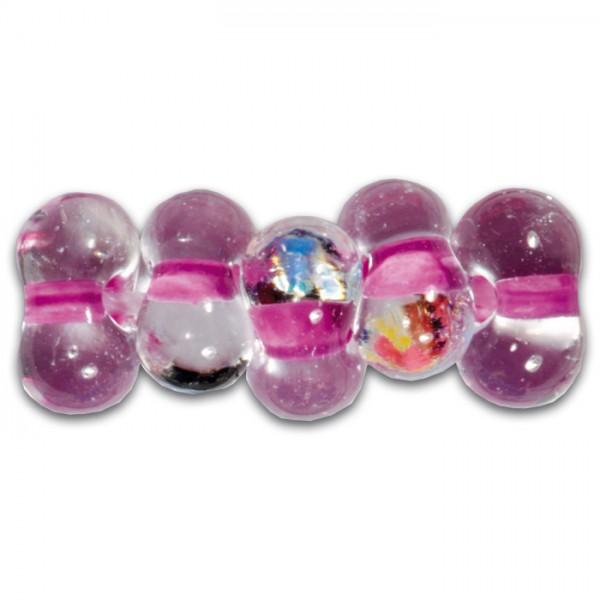 Farfalle Farbeinzug 6,5mm 17g cristall lila Glas, Lochgr. ca. 1mm