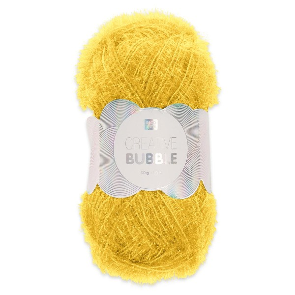 Creative Bubble Wolle 50g ca. 90m gelb Nadel Stricken Nr. 2, Häkeln Nr. 4, 100% Polyester