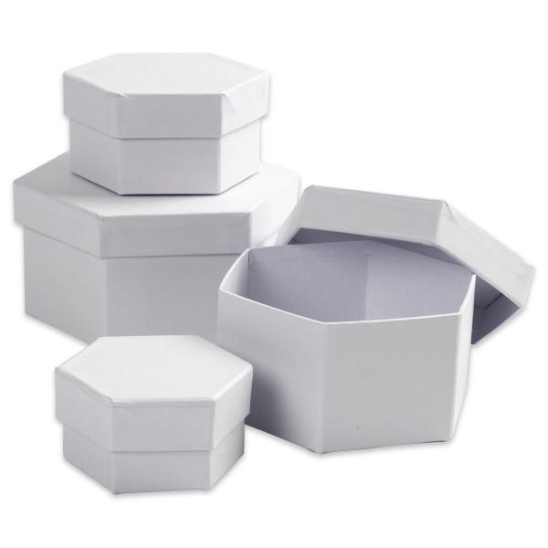 Geschenkboxen Karton 4-teilig Sechseck weiß 6,5x4cm bis 12x7cm