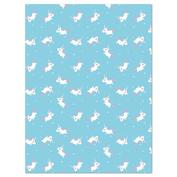 Decoupagepapier blau mit weißen Einhörnern von Décopatch, 30x40cm, 20g/m²