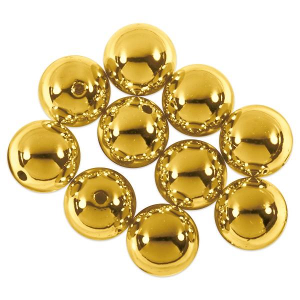 Metallicperlen glänzend 10mm 10 St. goldfarben Kunststoff, Lochgr. ca. 1mm