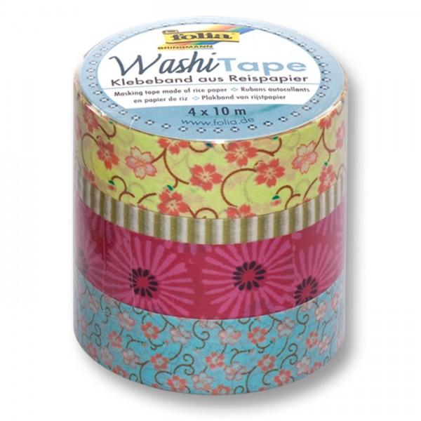 Washi Tape Papier-Klebeband 40m Blumenreigen 4 Rollen à 10m, 3x15mm, 1x5mm