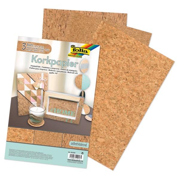 selbstklebendes Korkpapier 20x30cm 3 Bl./Designs