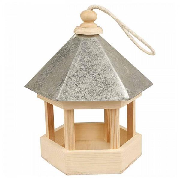 Vogelfutterhaus Holz 22x18x16,5cm natur mit Zinkdach und Aufhänger