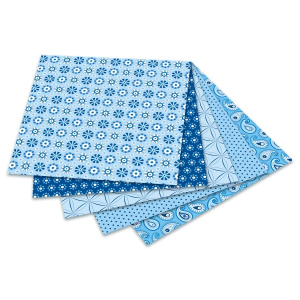Faltblätter Basics 80g/m² 15x15cm 50 Bl. blau 5 Designs, Rückseite uni