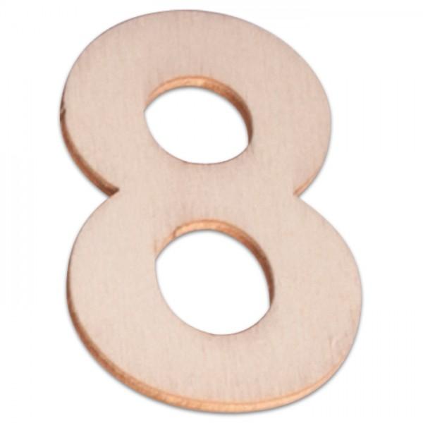 Holzzahl 8 ca. 3mm 6cm hoch natur