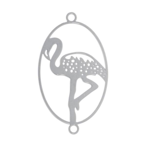Metallzwischenteil Flamingo oval ca. 19x32mm platinf. Lochgr. ca. 1,5mm