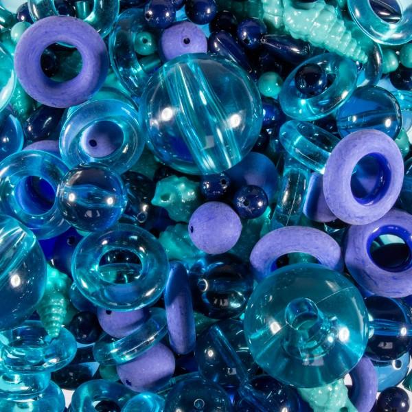 Kunststoffperlen-Mix 4-40mm blau/türkis ca. 350-400g, Lochgr. ca. 0,9-12mm