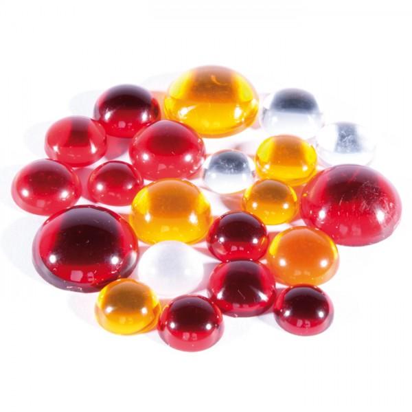 Plexiglas-Steine Cabochons Rot-Orange-Kristall-Töne 11-20mm, 20g, ca. 16-20 Steine