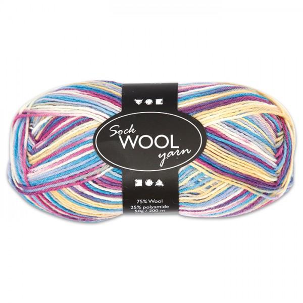 Sockenwolle 50g creme-lila 75% Wolle, 25% Polyamid, für Nadel Nr. 2,5-3