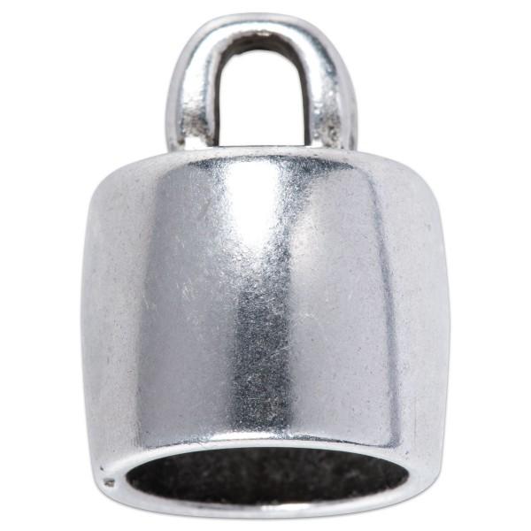 Endkappe Metall ca. 11x14mm für Bänder 10mm altplatinf. Lochgröße ca. 3mm