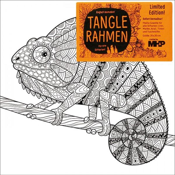 Tangle-Keilrahmen 20x20x2cm Chamäleon