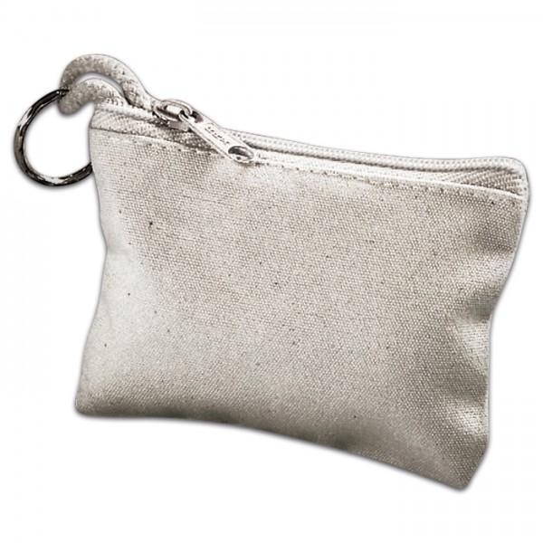 Schlüsselmäppchen mit Ring 10x7,5cm natur 100% Baumwolle/Metall