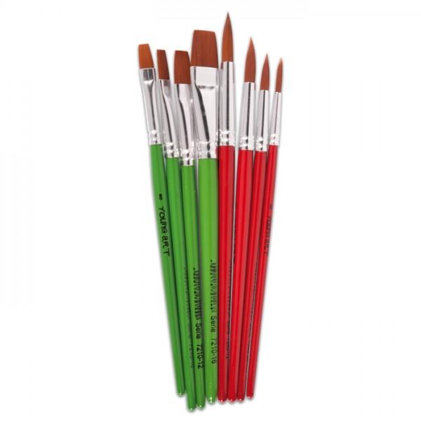 Pinsel Ponex-Synthetikhaar rund/flach 8er-Set Young Art Schulset flach: 8/10/12/16; rund: 6/8/10/12