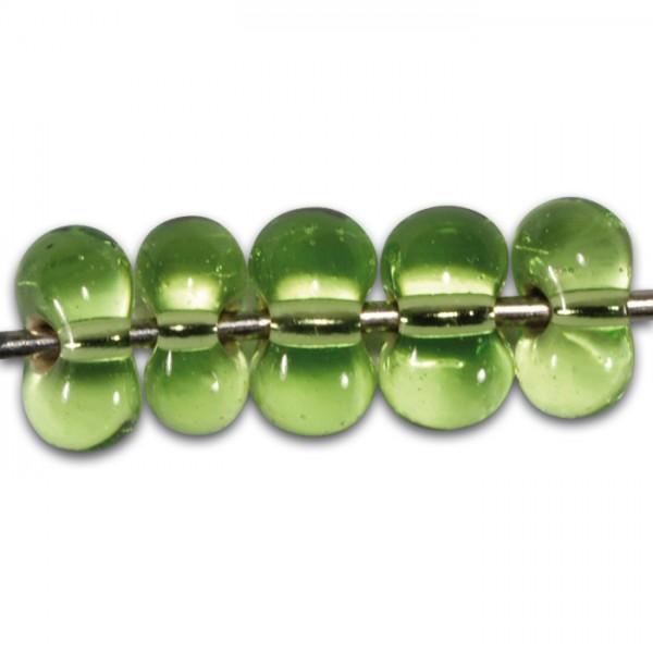 Farfalle transp. Silbereinzug 6,5mm 17g hellgrün Glas, Lochgr. ca. 1mm