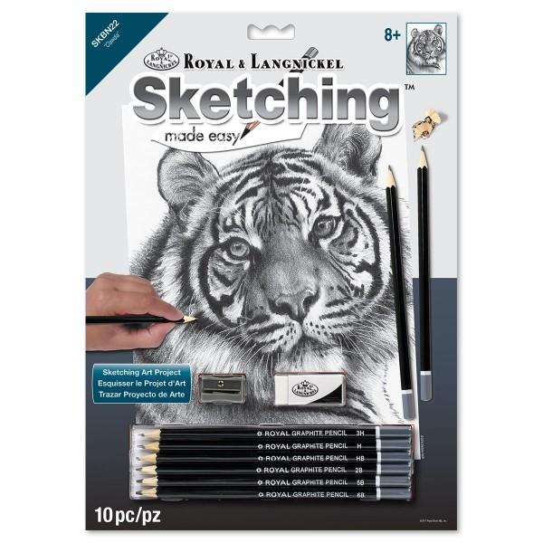 Sketching made easy 22,2x29,8cm Königstiger Bleistiftzeichnen leicht gemacht