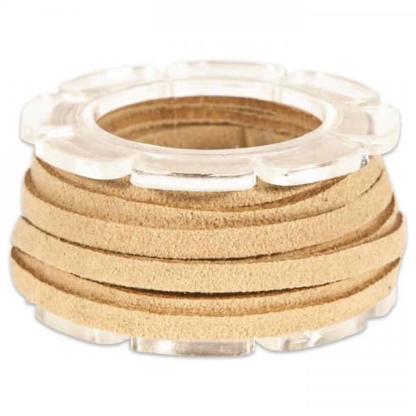 Veloursband textil 1,5 stark 3mm breit 2m beige 50% Polyamid, 50% Nylon