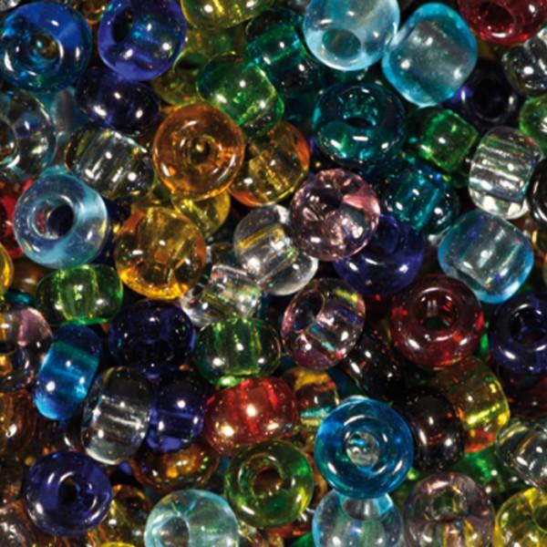 Rocailles transparent 2,6mm 17g mix Glas, Lochgr. ca. 0,9mm