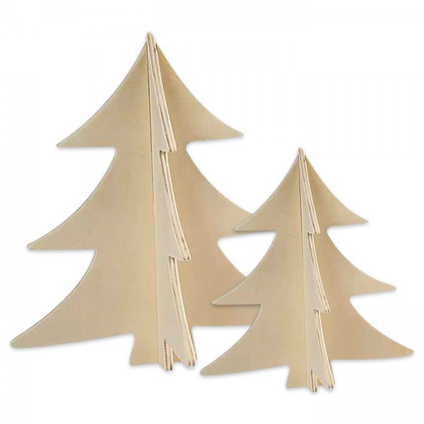 3D-Weihnachtsbaum Holz 3mm 13/18cm 2 St. natur