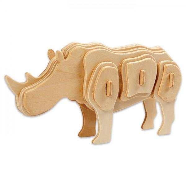 Holzbausatz Nashorn ca. 16x4x8cm 24 Teile vorgestanzt, zum Zusammenstecken