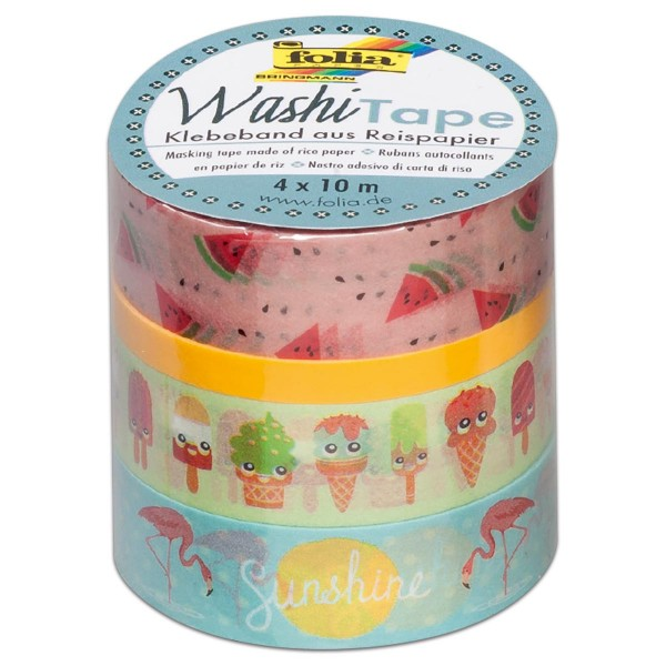 Washi Tape Papier-Klebeband 40m Tropical 4 Rollen à 10m, 3x15mm, 1x5mm