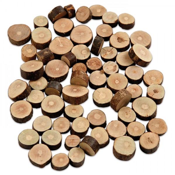 Holzscheiben m. Borke 5mm 10-15mm 230g