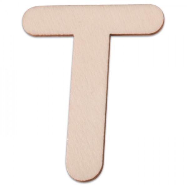 Holzbuchstabe T ca. 3mm 6cm hoch natur
