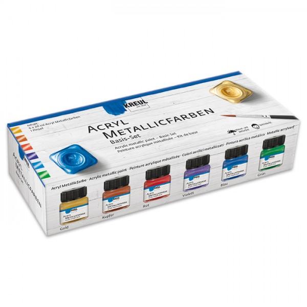 Creativ-Set Acryl-Metallicfarbe 6 Farben à 20ml inkl. Pinsel