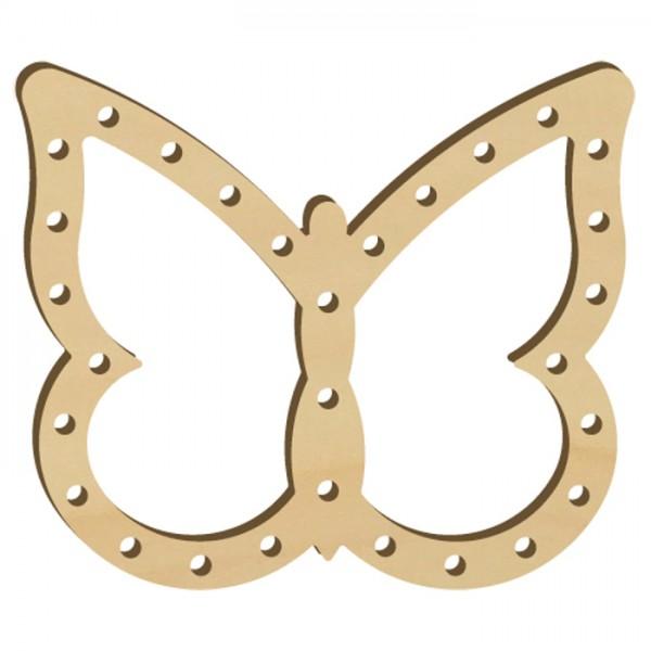 Fadenflechten Schmetterling 1 4mm ca. 9cm natur mit spitzen Flügeln, Holz