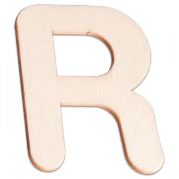 Holzbuchstabe R ca. 3mm 6cm hoch natur