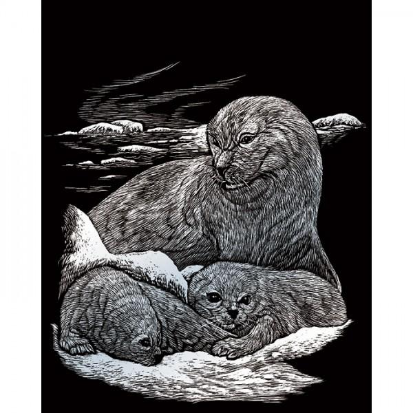 Kratzbild silber 20,3x25,4cm Seehund&Babys