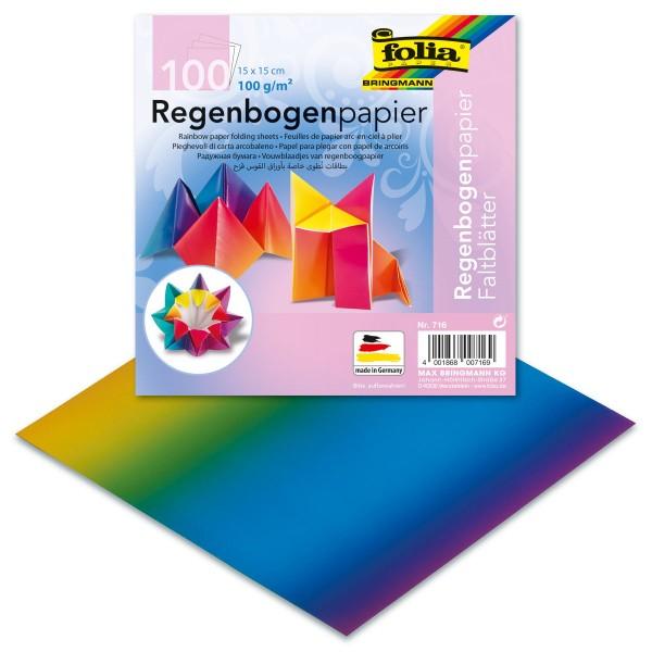 Faltblätter 100g/m² 15x15cm 100 Bl. Regenbogenpapier