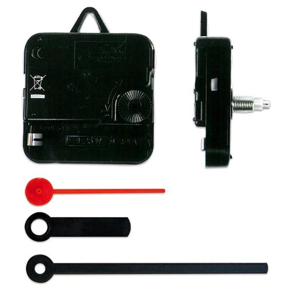 Quarzuhrwerk 55x55x18 mit Zeigern in Stabform 54-80mm Kunststoff, für Wandstärke 9-14mm, schwarz/rot