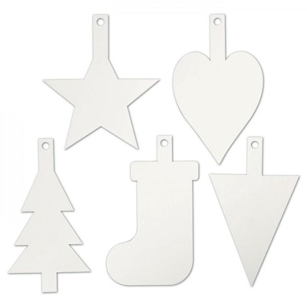 Weihnachtsaufhänger Karton 15 St. weiß 5 Designs à 3 St., 235-265mm hoch, 400g/m²