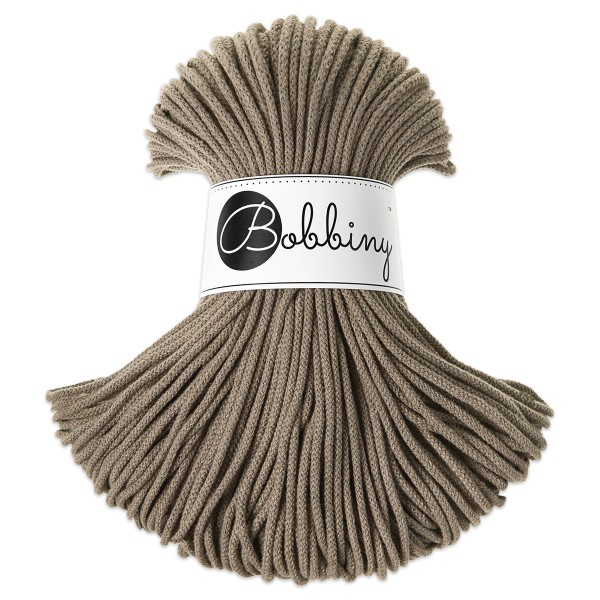 Bobbiny Rope-Garn Junior Ø3mm coffee ca. 200g-300g, 100% Baumwolle, LL 100m, Nadel Nr. 8-10