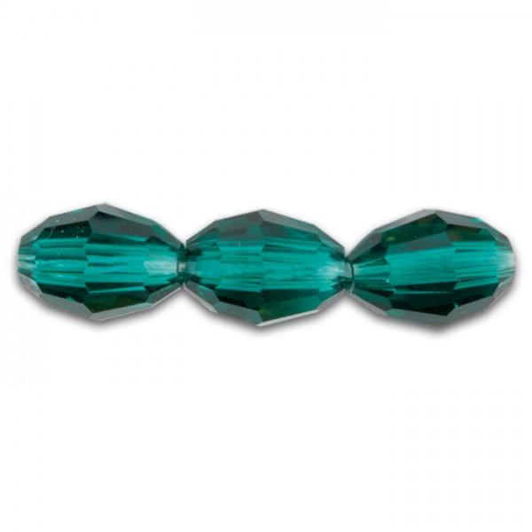 Glasschliffperle Olive 8x10mm 16 St. emerald Lochgr. ca. 1mm