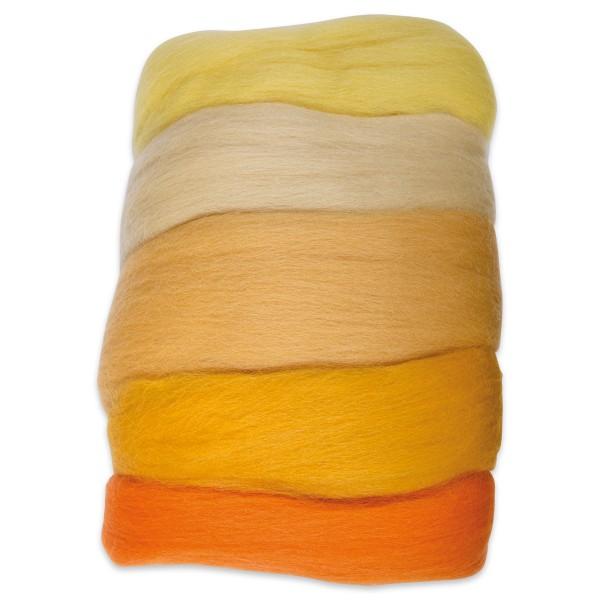 Kammzugwolle Merino 50g gelbton 100% Wolle vom südamerikanischen Merinoschaf