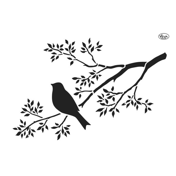 Universal-Schablone DIN A4 Ast mit Vogel Kunststoff