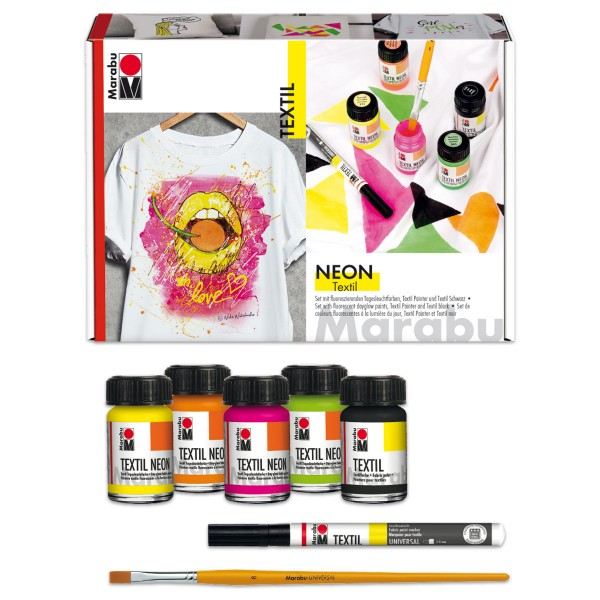 Marabu Textil Neon Set 7-teilig inkl. Pinsel, Stoffmalfarbe für helle Stoffe