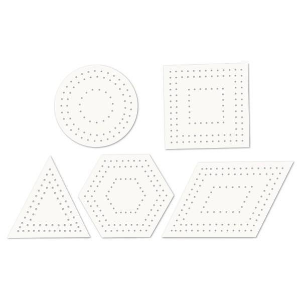 Stickkarten geometrische Formen 10-17cm 20 St. weiß 5 Designs, Karton, 230g/m²
