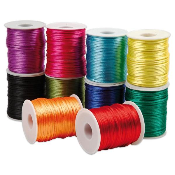 Satinkordel-Sortiment 10 Farben à 50m kräftige Farben Ø 2mm, 100% Polyester